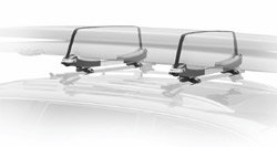 Two boards mounted on a Thule 810 SUP Taxi Paddleboard Carrier