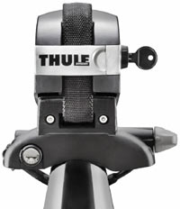The dual locking system of the Thule 810 SUP Taxi Paddleboard Carrier