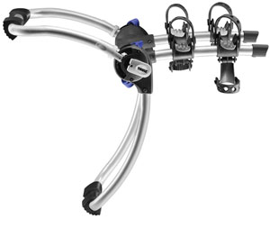 An isolated image of the Thule 9006 Gateway 2-Bike Trunk/Strap Mount Rack showing the Stay-Put cradle and no-sway cages combination