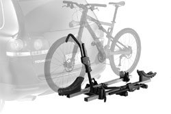 The Thule T2 2-Bike Platform Hitch Rack mounted on a car