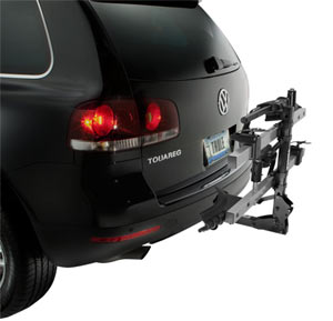 The Thule T2 2-Bike Platform Hitch Rack not in use but using Hitch Switch functionality to fold up and out of the way