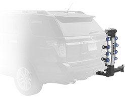 An unloaded Thule 9027 Apex swing away 4-bike hitch mount carrier with bike arms folded down