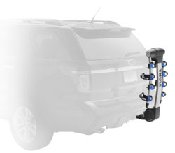 The Thule 9025 Apex four-bike hitch mount carrier unloaded with bike arms down and the vehicle hatchback closed