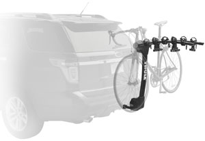 The Thule Vertex 9030 5-bike hitch rack mounted on a car