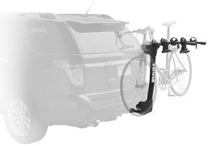 The Thule Vertex 9029 4-bike hitch rack mounted on a car