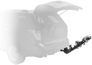The Thule Vertex 9029 4-bike hitch rack carrier in the leaning position