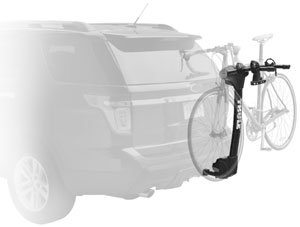 The Thule Vertex 2-bike hitch rack mounted on a car