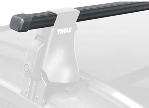 A square Thule Thule LB58 load bar mounted on a Thule foot pack