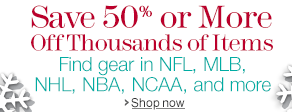 Save 50% or More Off Fan Gear