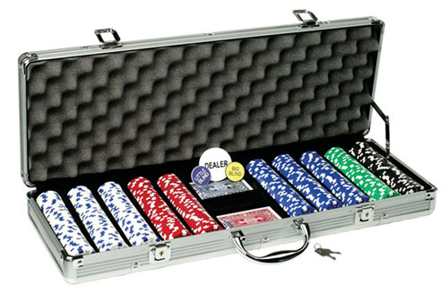Fat Cat Hold'em Dealer Poker Chip Set (500 Chips) Picture