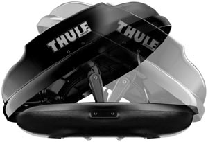 Thule dual-side cargo box access demonstrated