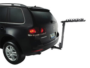 An unloaded Parkway 4-Bike Hitch Mount Carrier Rack mounted on the back of a car