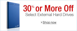 30% or More Off Select External Hard Drives