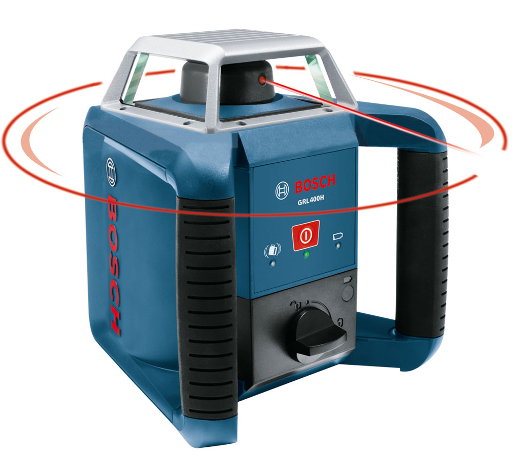 Bosch's GRL 400 H self-leveling rotary laser with laser receiver