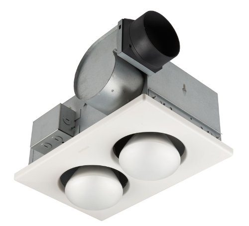 Broan 164 2 bulb ventilation heater bath fan with lights for 2 bathroom exhaust fan venting