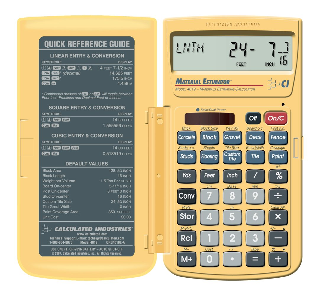 Calculated Industries 4019 Materials Estimating Calculator Ebay Calculate  Gpa Berkeley Related Keywords & Suggestions Calculate