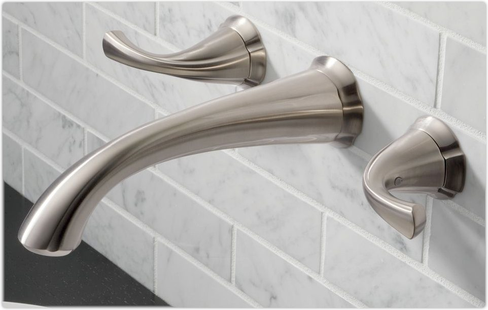 ... Wall-Mount Lavatory Faucet, Stainless - Touch On Bathroom Sink Faucets