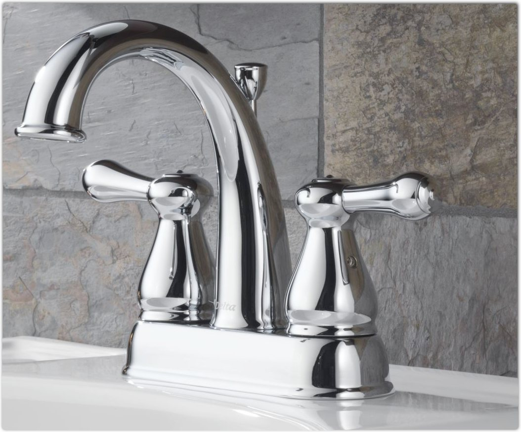 Unique Delta 2592LF Double Handle Centerset Bathroom Faucet With Metal PopUp