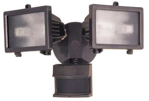 bz 300 watt quartz halogen motion sensing twin security light bronze