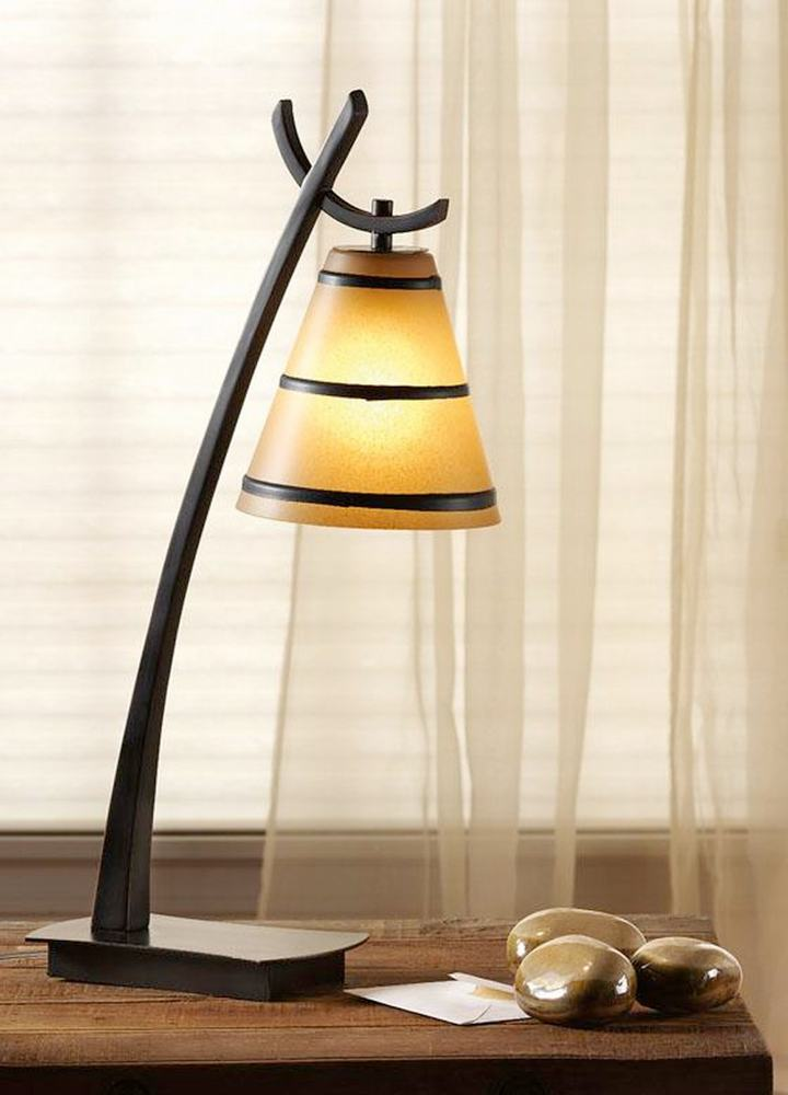 Frosted amber glass shade with decorative