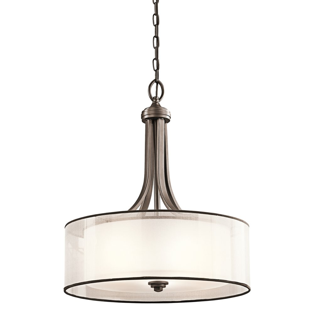 The Lacey three-light inverted pendant in mission bronze ( view larger
