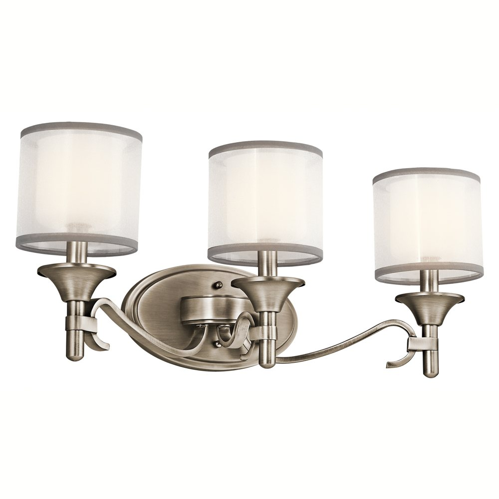 Vanity Light Bulb Shades : 45283AP Lacey 3LT Vanity Fixture, Antique Pewter Finish with White Organza Fabric / Etched Opal ...