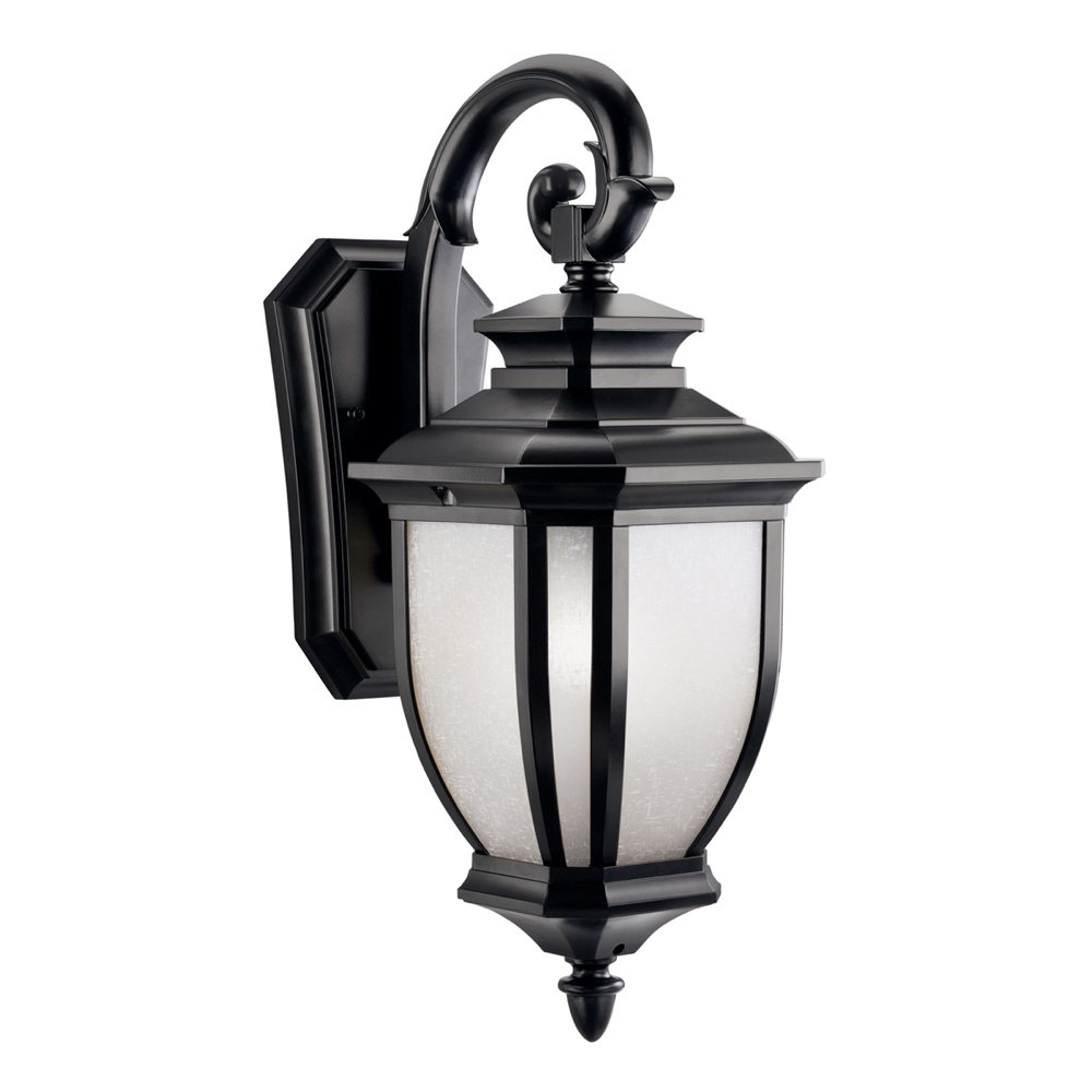 Kichler Lighting 9040BK Salisbury 1-Light Outdoor Wall Mount Fixture, Black with White Linen ...