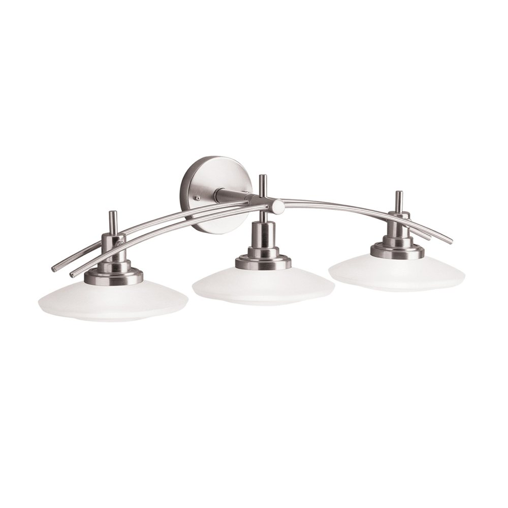 Kichler lighting 6463ni structures wall mount 3 light for Brushed nickel bathroom lighting fixtures
