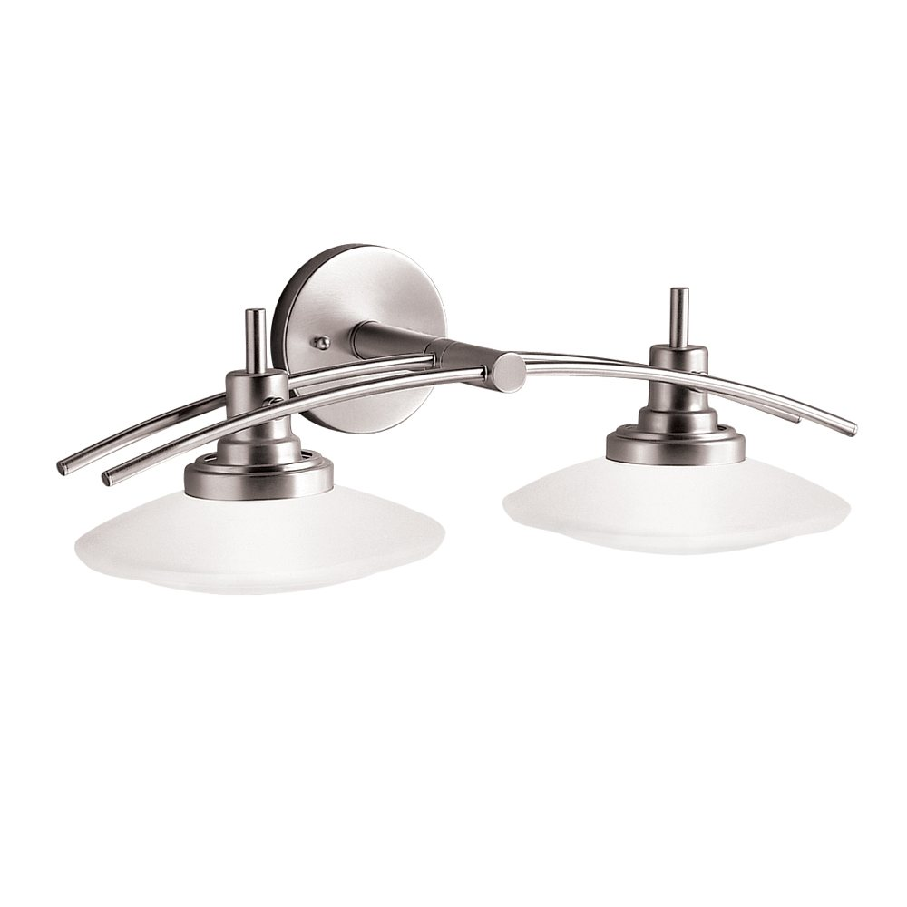 Kichler lighting 6162ni structures wall mount 2 light for Light fixtures for bathrooms