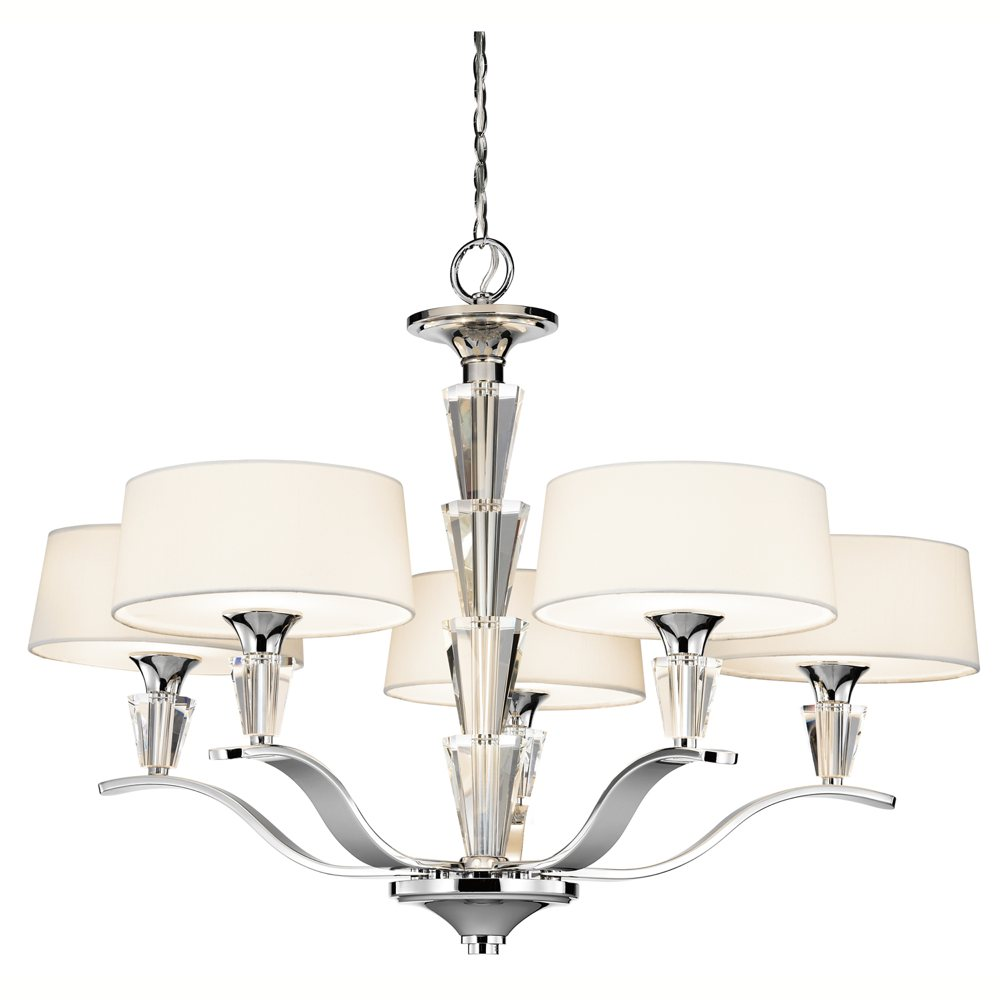 kichler lighting 42030ch crystal persuasion 5 light chandelier chrome