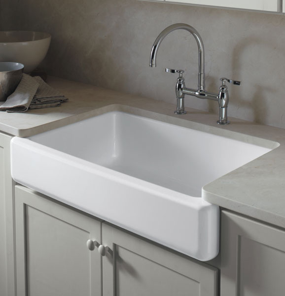 KOHLER K-6489-0 Whitehaven Self-Trimming Apron Front Single Basin Sink ...
