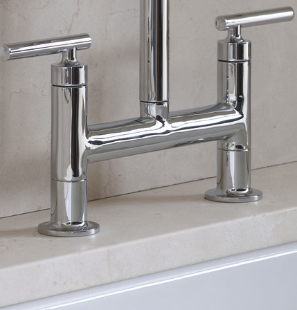 Kohler K 7548 4 Vs Purist Deck Mount Bridge Faucet With Sidespray Vibrant Stainless Touch On