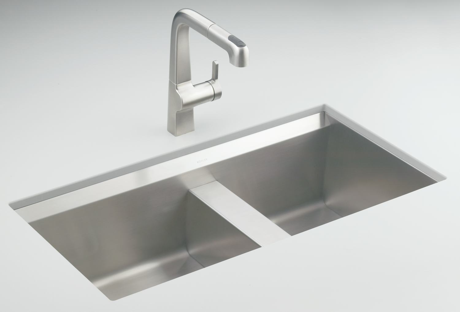 Kohler Kitchen Sinks : Amazon.com: KOHLER K-3672-NA 8 Degree Offset Double Basin Kitchen Sink ...