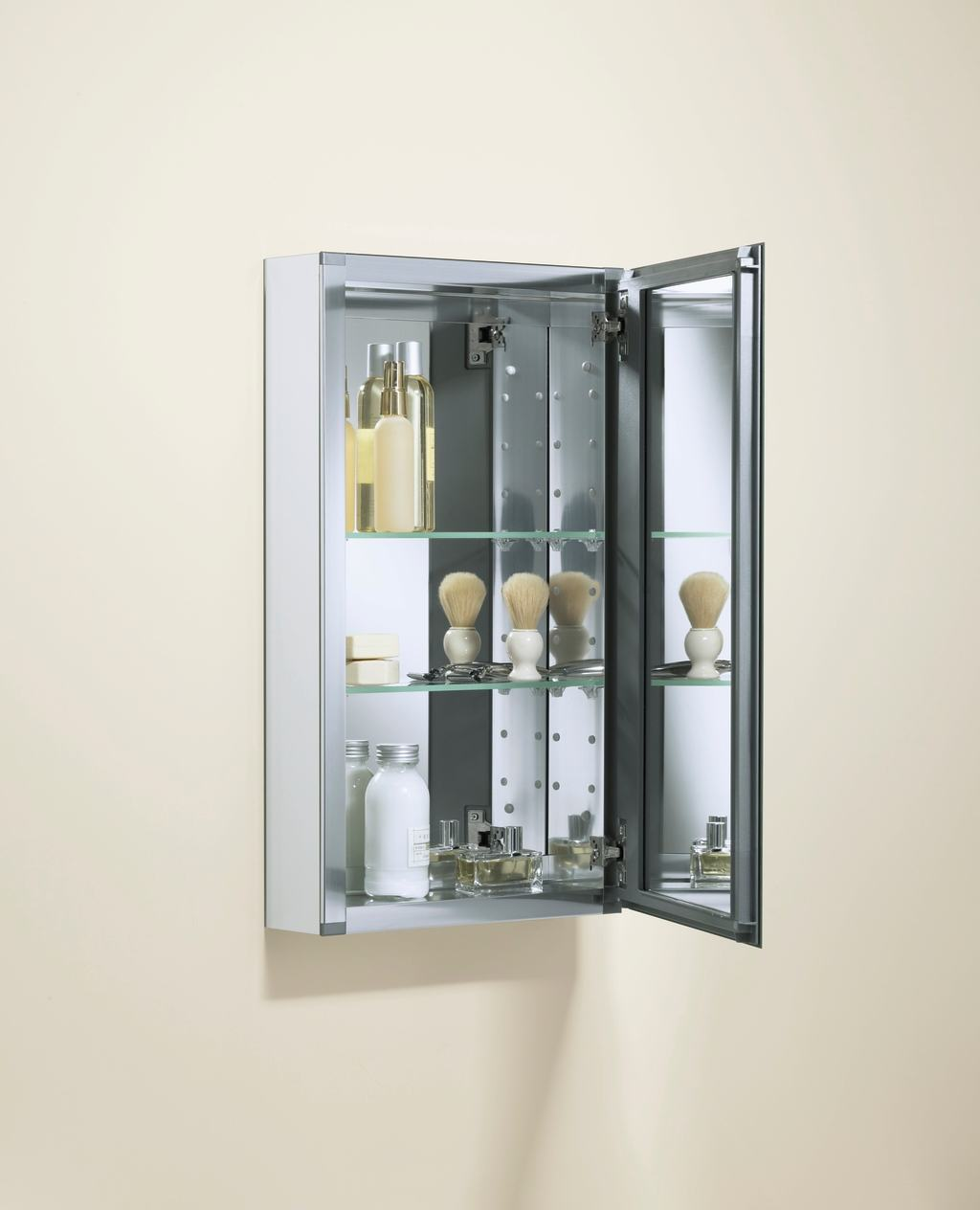 single door mirrored frameless cabinet adds stylish storage view
