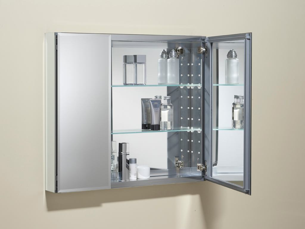 double door mirrored frameless cabinet adds stylish storage view