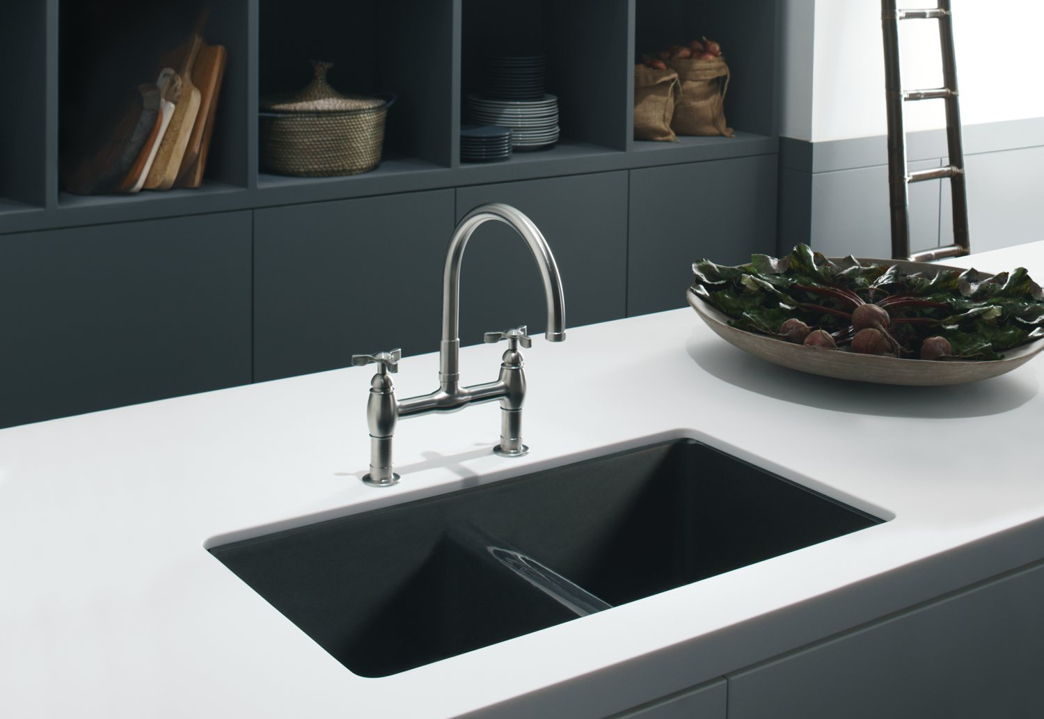 Kohler K-5840-5U-96 Anthem Cast Iron Undercounter Sink with Five