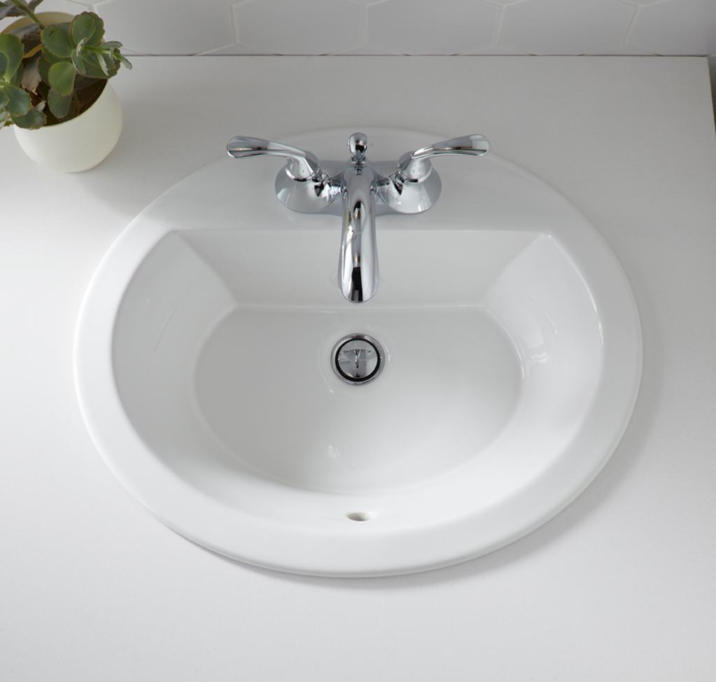 ... Bathroom Sink with Single-Hole Faucet Drilling, White - Bathroom Sinks