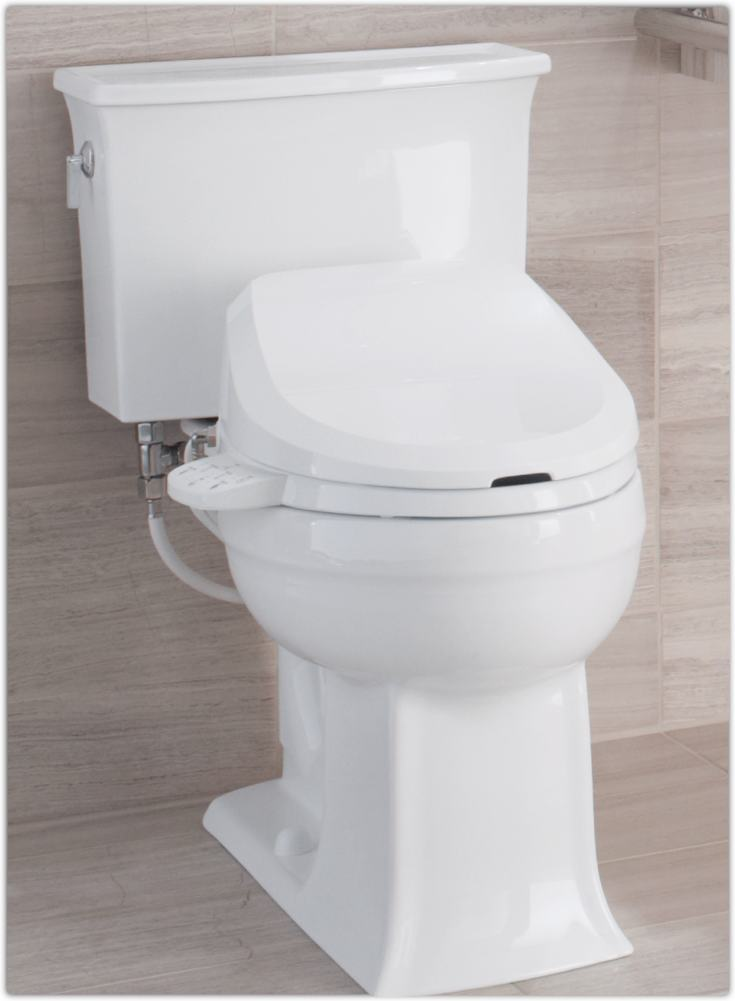 Kohler k 4737 0 c3 125 elongated bidet toilet seat with tank heater and side controls white - Toilet with bidet built in ...