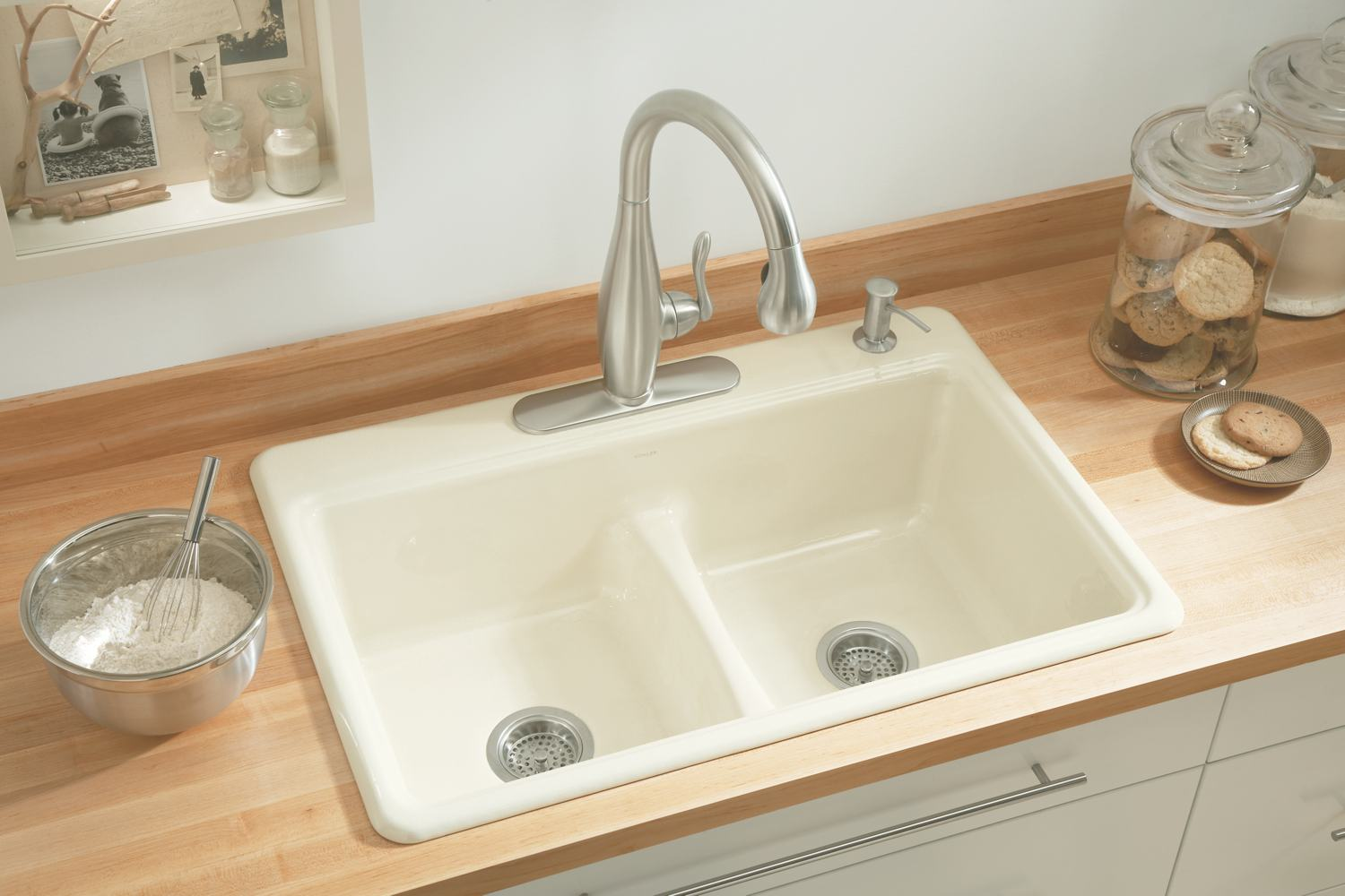 Kohler Kitchen Sinks : KOHLER K-5838-4-0 Deerfield Smart Divide Self-Rimming Kitchen Sink ...