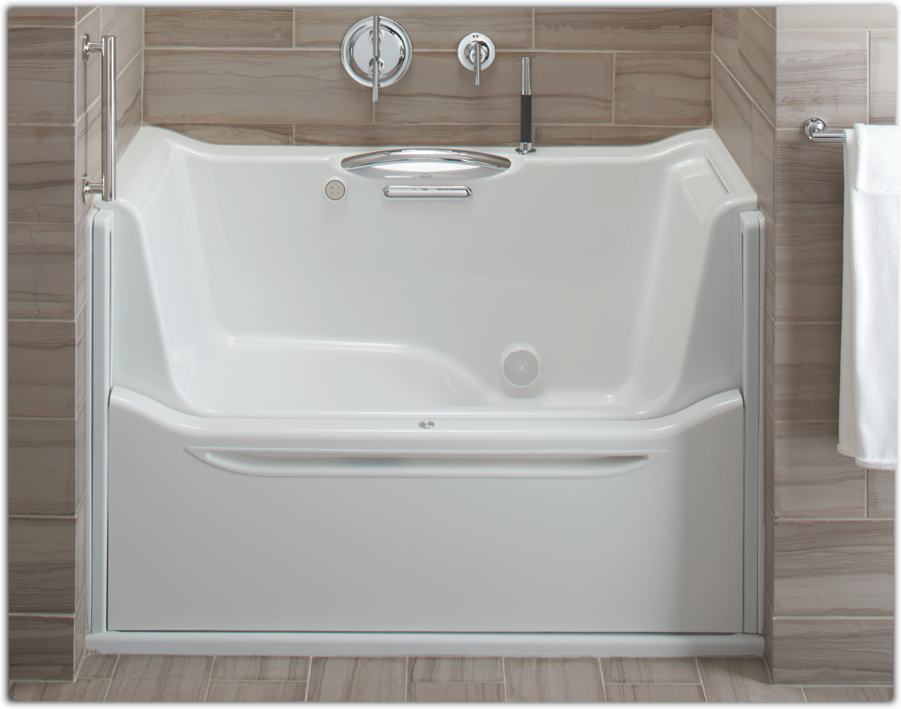 Amazon.com: KOHLER K-1913-L-0 Elevance Rising Wall Bath with Left-Hand ...