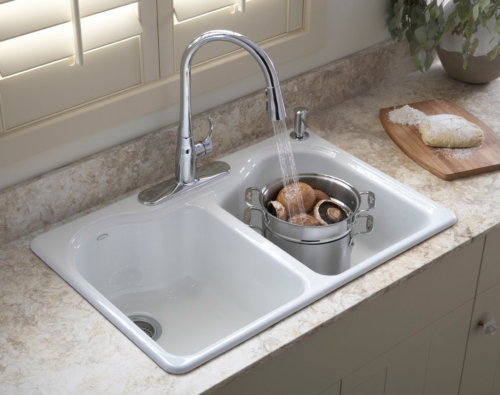 ... Kitchen Sink with Four-Hole Faucet Drilling, White: Home Improvement