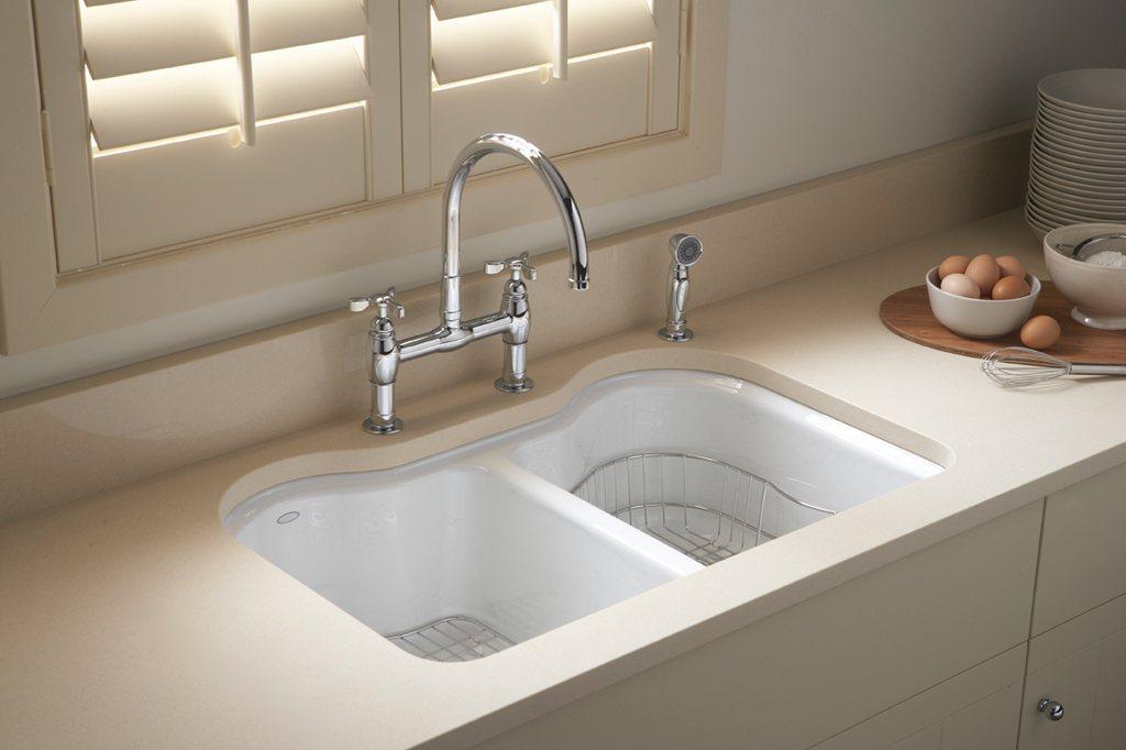KOHLER K-5818-5U-0 Hartland Double Equal Undercounter Sink with Five ...