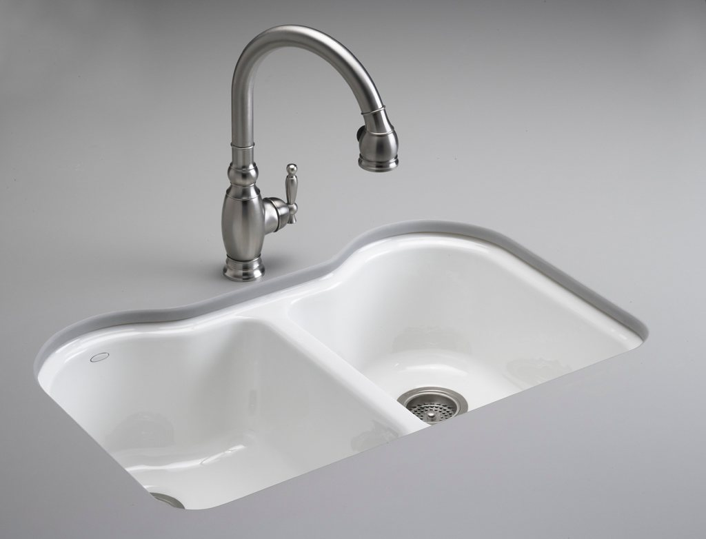 KOHLER K-5818-5U-0 Hartland Double Equal Undercounter Sink with Five ...