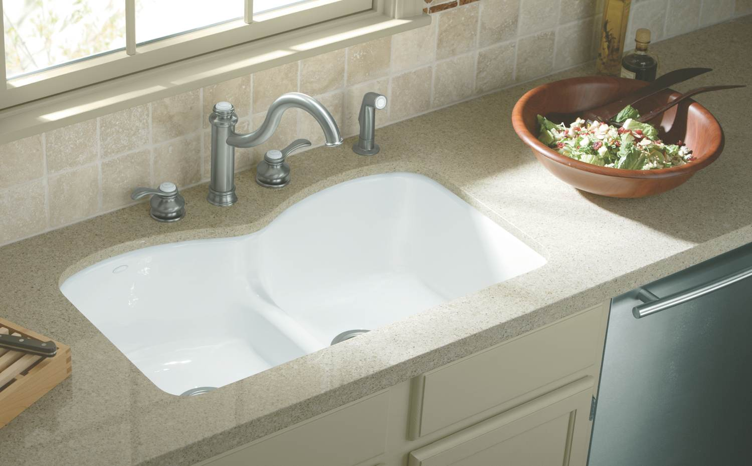 Double Sinks For Kitchen : ... Undercounter Kitchen Sink, White - Double Bowl Sinks - Amazon.com