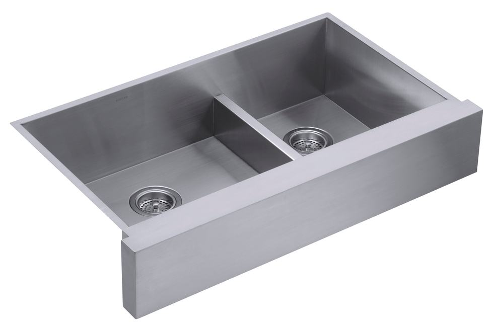 Stainless Steel Double Farmhouse Sink : 3945-NA Vault Undercounter Offset Smart Divide Stainless Steel Sink ...
