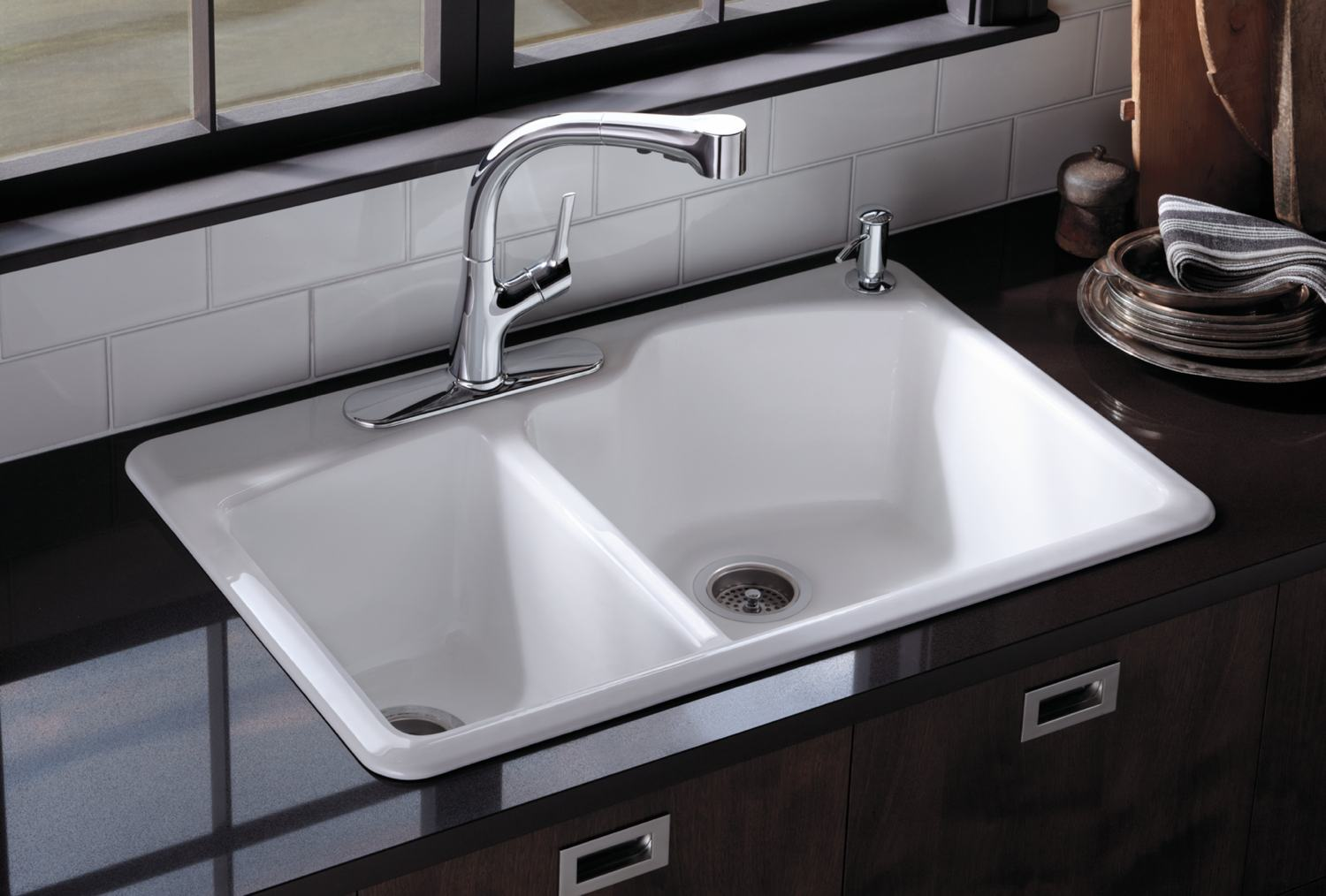 Kohler White Kitchen Faucet : ... Double Basin Sink with 2-Hole Faucet Drilling, White: Home Improvement