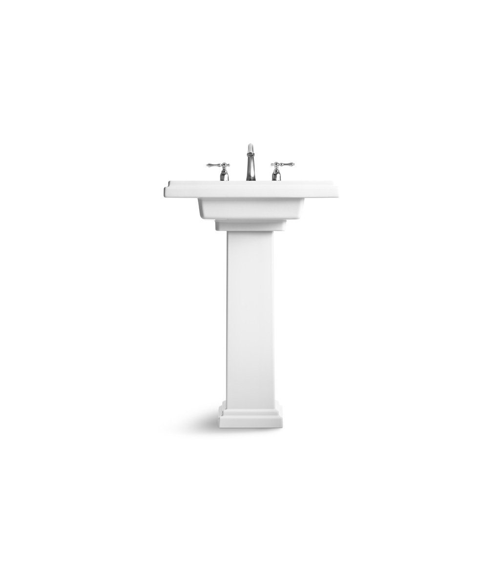24 Inch Pedestal Sink : KOHLER K-2844-8-0 Tresham 24-inch Pedestal Bathroom Sink with 8-inch ...