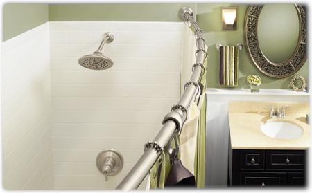 Amazon.com: Moen DN2160BN Inspirations Curved Shower Rod, Brushed ...
