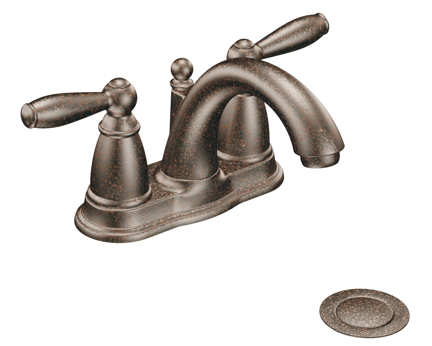 Moen 6610orb brantford 2 handle lavatory faucet with drain for Pictures of bathroom faucets