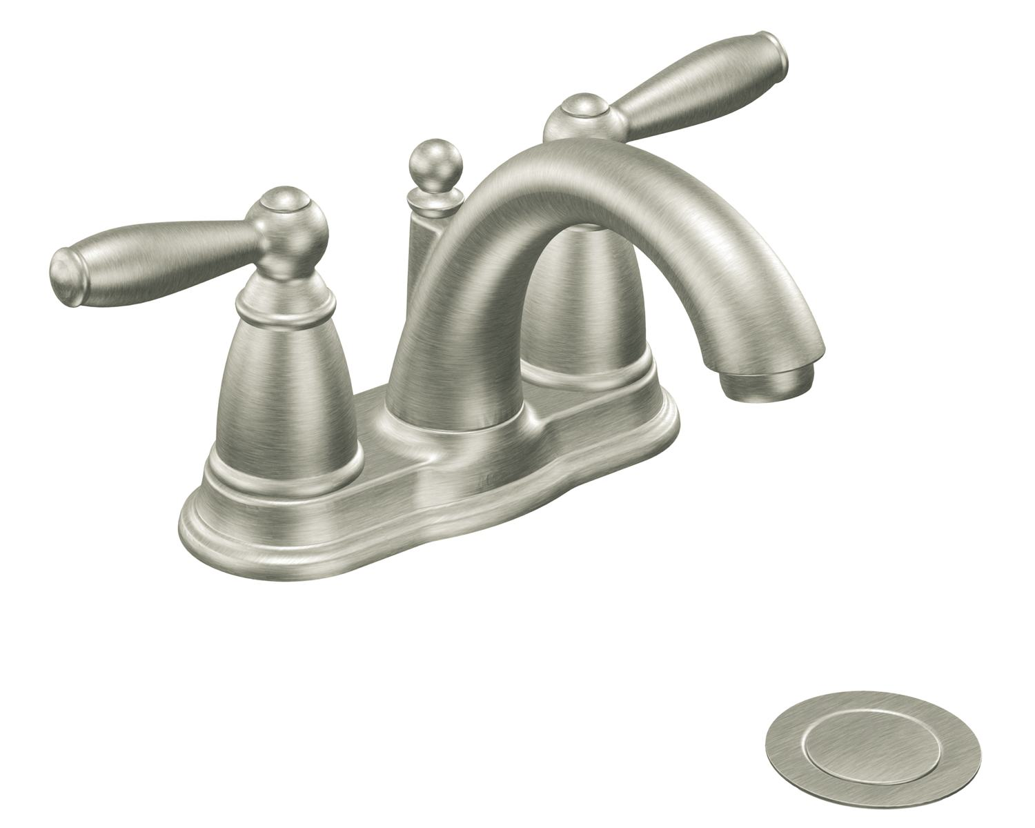 Moen 6610bn brantford two handle low arc bathroom faucet for Bathroom taps
